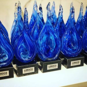 Custom Created Glass Sculptures for Lordco Sales Awards